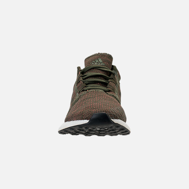 Front view of Women's adidas PureBOOST GO Running Shoes in Base Green/Night Cargo/Trace Maroon