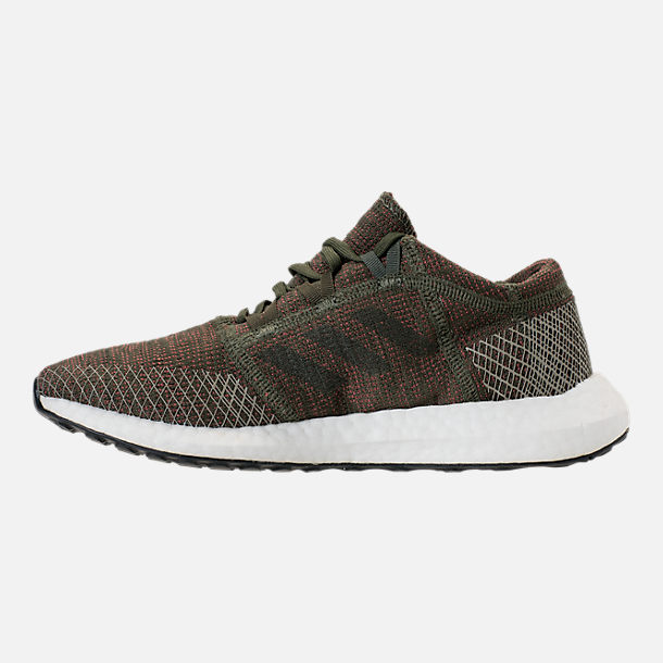 Left view of Women's adidas PureBOOST GO Running Shoes in Base Green/Night Cargo/Trace Maroon