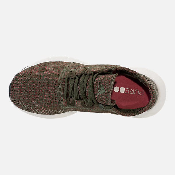 Top view of Women's adidas PureBOOST GO Running Shoes in Base Green/Night Cargo/Trace Maroon