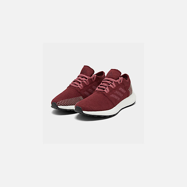 Three Quarter view of Women's adidas PureBOOST GO Running Shoes in Noble Maroon/Trace Maroon/Clear
