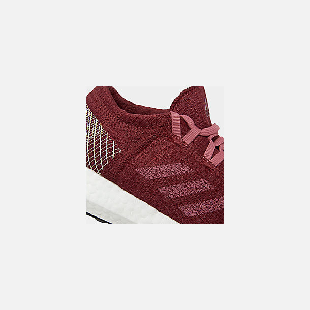Front view of Women's adidas PureBOOST GO Running Shoes in Noble Maroon/Trace Maroon/Clear