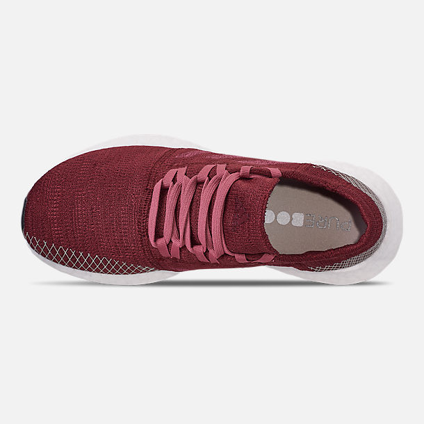 Top view of Women's adidas PureBOOST GO Running Shoes in Noble Maroon/Trace Maroon/Clear