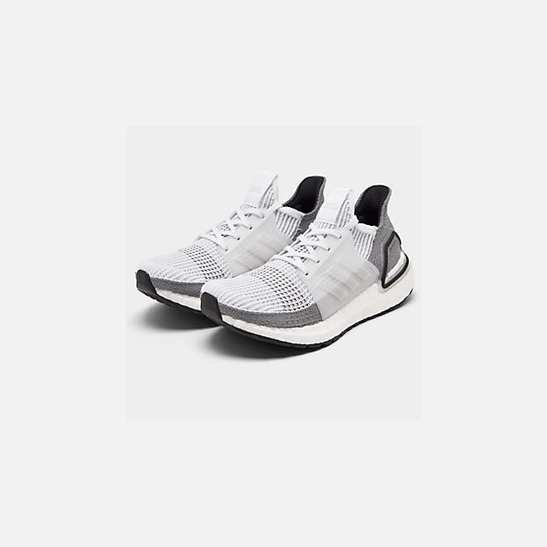 Three Quarter view of Women's adidas UltraBOOST 19 Running Shoes in White/White/Grey