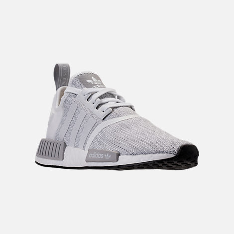 Three Quarter view of Men's adidas NMD Runner R1 STLT Primeknit Casual Shoes in Footwear White/Grey/Footwear White