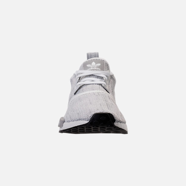Front view of Men's adidas NMD Runner R1 STLT Primeknit Casual Shoes in Footwear White/Grey/Footwear White