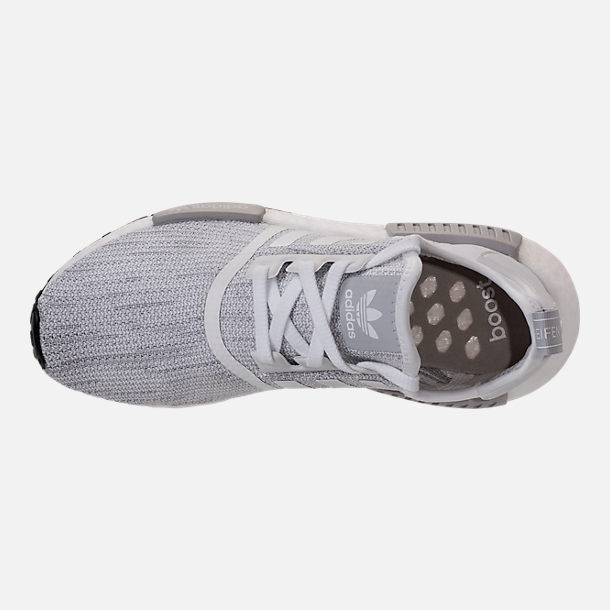 Top view of Men's adidas NMD Runner R1 STLT Primeknit Casual Shoes in Footwear White/Grey/Footwear White