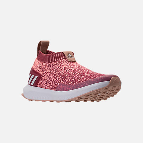 Three Quarter view of Girls' Big Kids' adidas RapidaRun Laceless Running Shoes in Trace Maroon/Clear Orange/Ash