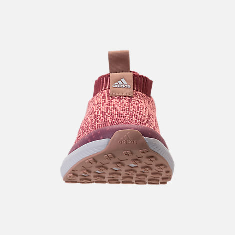 Front view of Girls' Big Kids' adidas RapidaRun Laceless Running Shoes in Trace Maroon/Clear Orange/Ash