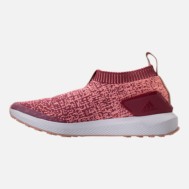 Left view of Girls' Big Kids' adidas RapidaRun Laceless Running Shoes in Trace Maroon/Clear Orange/Ash
