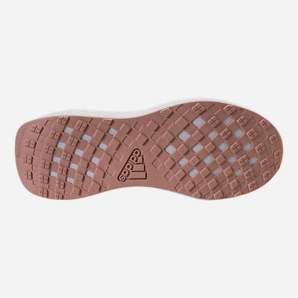 Bottom view of Girls' Big Kids' adidas RapidaRun Laceless Running Shoes in Trace Maroon/Clear Orange/Ash