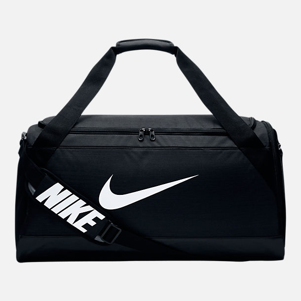 Front view of Nike Brasilia Medium Training Duffel Bag in Black/White