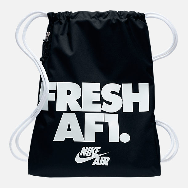 Front view of Nike Heritage Gymsack in Black/White