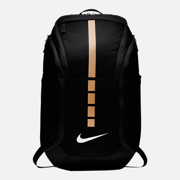 Front view of Nike Hoops Elite Pro Backpack in Black/Metallic Gold/White