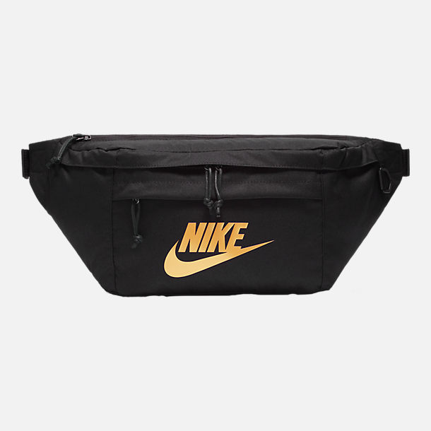Front view of Nike Tech Hip Pack in Black/Metallic Gold