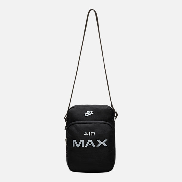 Front view of Nike Air Max Small Items Crossbody Bag in Black/Wolf Grey