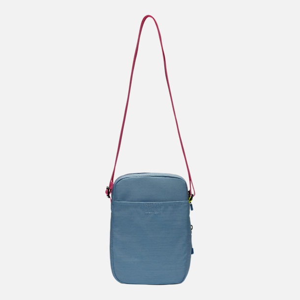 Back view of Nike Heritage Small Items Crossbody Bag in Indigo Fog/Indigo Fog/Laser Fuchsia