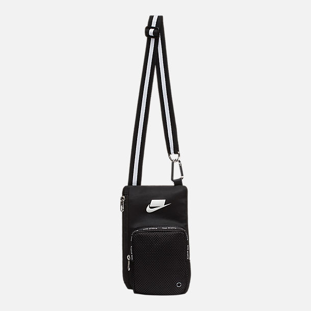 Front view of Nike Sport Small Items Crossbody Bag in Black Summit White dafabd78b5955