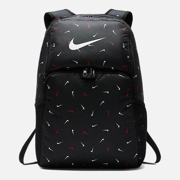 promo code b77ba 00d6f Front view of Nike Brasilia Printed XL Training Backpack in Black White Allover  Print