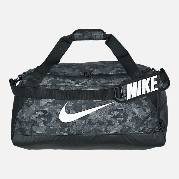 Front view of Nike Brasilia Duffel Bag in Gunsmoke Black White 66c75560e9