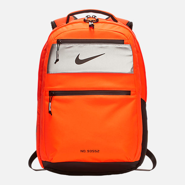Front view of Nike PG 3 x NASA Backpack in Orange/Black