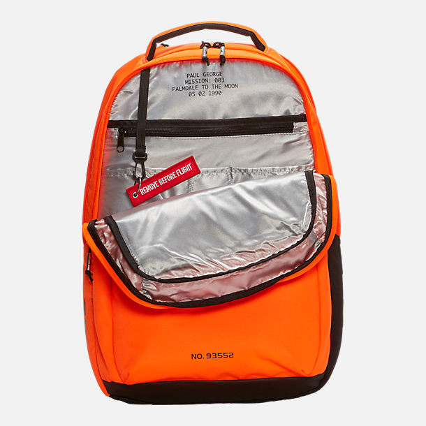 Back view of Nike PG 3 x NASA Backpack in Orange/Black