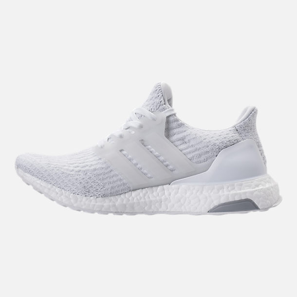 Left view of Women's adidas UltraBOOST Running Shoes in White/White/Crystal White