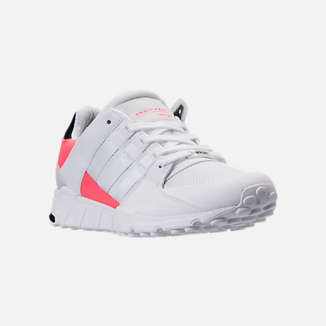 Three Quarter view of Men's adidas EQT Support Refine Casual Shoes in White/White/Turbo