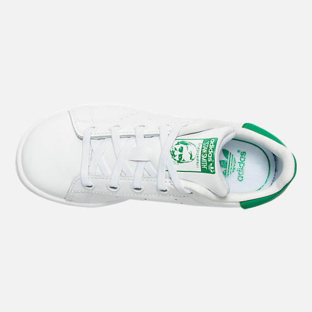 Top view of Little Kids' adidas Originals Stan Smith Casual Shoes in White/Fairway