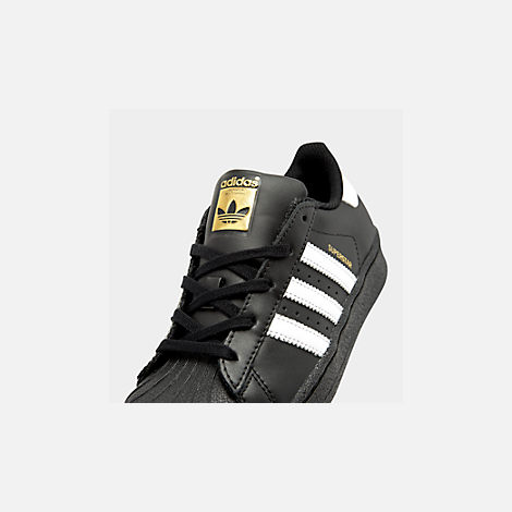 Front view of Little Kids' adidas Superstar Casual Shoes in Black/White
