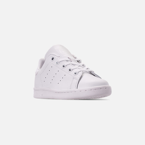 Three Quarter view of Boys' Little Kids' adidas Originals Stan Smith Hook-and-Loop Closure Casual Shoes in White