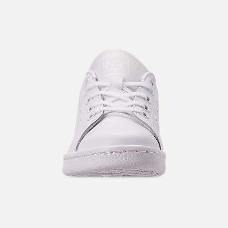 Front view of Boys' Little Kids' adidas Originals Stan Smith Hook-and-Loop Closure Casual Shoes in White