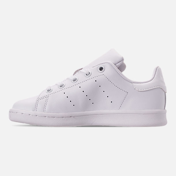 Left view of Boys' Little Kids' adidas Originals Stan Smith Hook-and-Loop Closure Casual Shoes in White