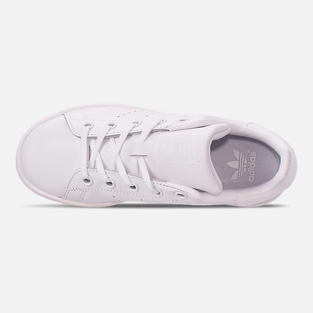 Top view of Boys' Little Kids' adidas Originals Stan Smith Hook-and-Loop Closure Casual Shoes in White
