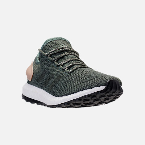 Three Quarter view of Men's adidas PureBOOST Running Shoes in Trace Green/Night Cargo/Utility Ivy