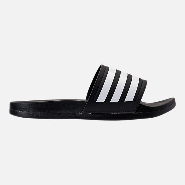 Right view of Women's adidas adilette Cloudfoam Plus Slide Sandals in Black/White