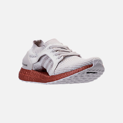 Three Quarter view of Women's adidas UltraBOOST X LTD Running Shoes in Crystal White/Ice Purple/Tech Rust