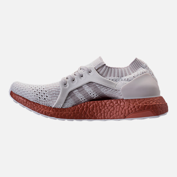 Left view of Women's adidas UltraBOOST X LTD Running Shoes in Crystal White/Ice Purple/Tech Rust