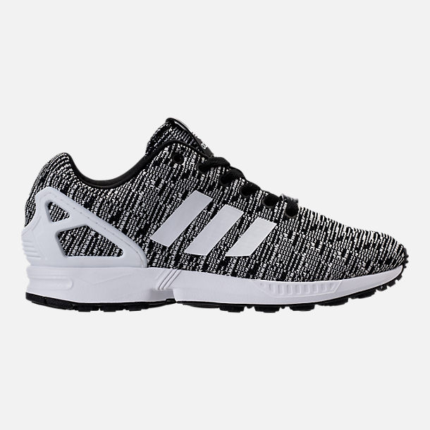 Right view of Men's adidas ZX Flux Casual Shoes in Black/White/Black