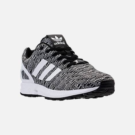 Three Quarter view of Men's adidas ZX Flux Casual Shoes in Black/White/Black