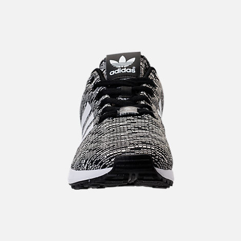 Front view of Men's adidas ZX Flux Casual Shoes in Black/White/Black