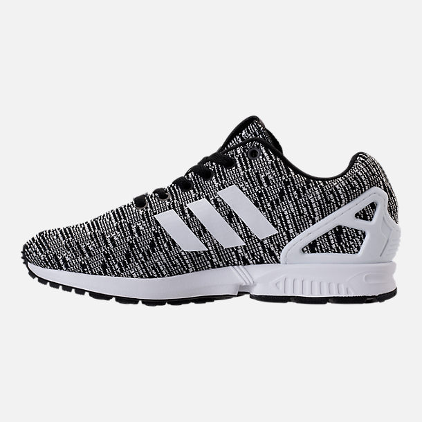 Left view of Men's adidas ZX Flux Casual Shoes in Black/White/Black