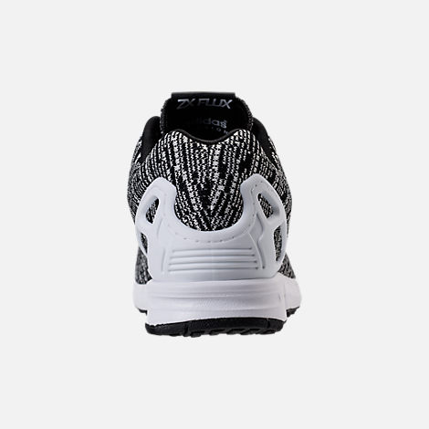 Back view of Men's adidas ZX Flux Casual Shoes in Black/White/Black