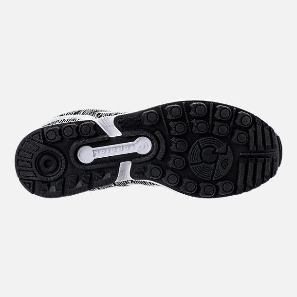 Bottom view of Men's adidas ZX Flux Casual Shoes in Black/White/Black