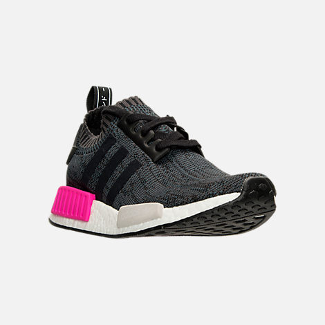 Three Quarter view of Women's adidas NMD XR1 Primeknit Casual Shoes in Black/Shock Pink