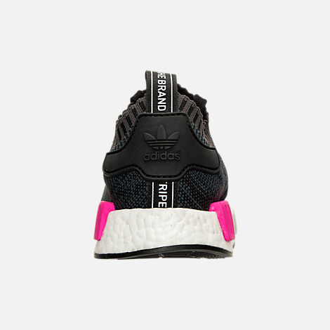 Back view of Women's adidas NMD XR1 Primeknit Casual Shoes in Black/Shock Pink