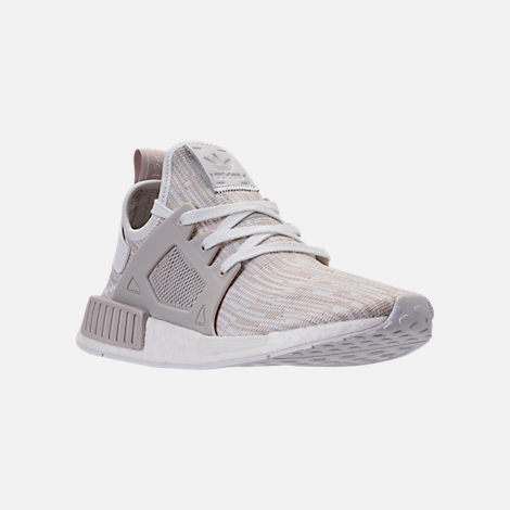 Three Quarter view of Women's adidas NMD XR1 Primeknit Casual Shoes in White/Neutral