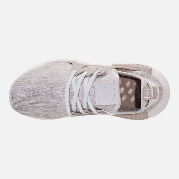 Top view of Women's adidas NMD XR1 Primeknit Casual Shoes in White/Neutral