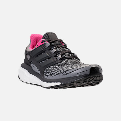 Three Quarter view of Women's adidas Energy Boost 2.0 Running Shoes in Grey/Utility Black