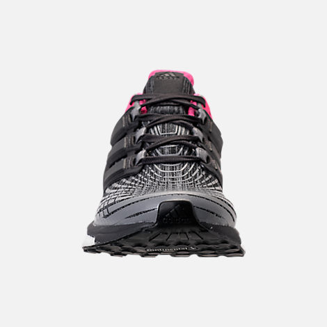 Front view of Women's adidas Energy Boost 2.0 Running Shoes in Grey/Utility Black