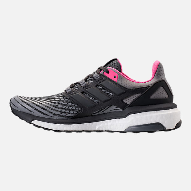 Left view of Women's adidas Energy Boost 2.0 Running Shoes in Grey/Utility Black